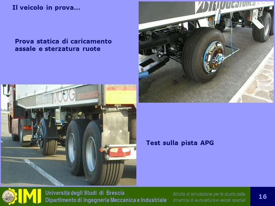 Il veicolo in prova… Prova statica di caricamento assale e sterzatura ruote Test sulla pista APG