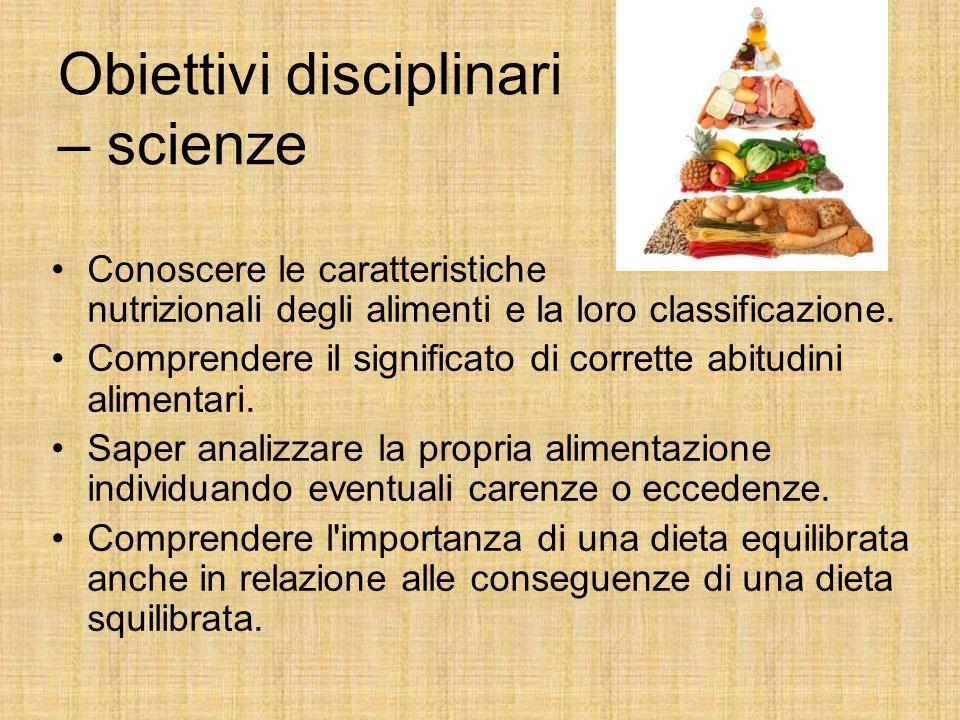 Obiettivi disciplinari – scienze