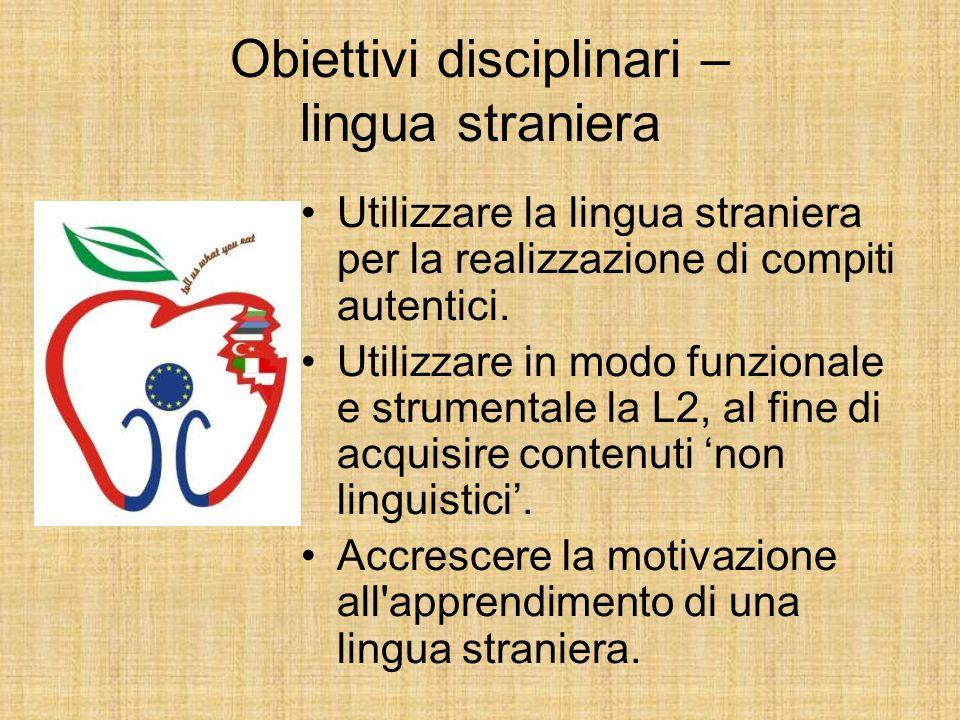 Obiettivi disciplinari – lingua straniera