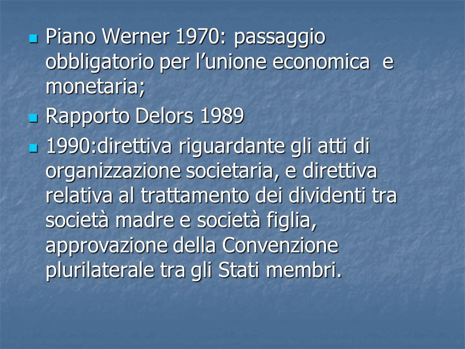 Piano Werner 1970: passaggio obbligatorio per l'unione economica e monetaria;