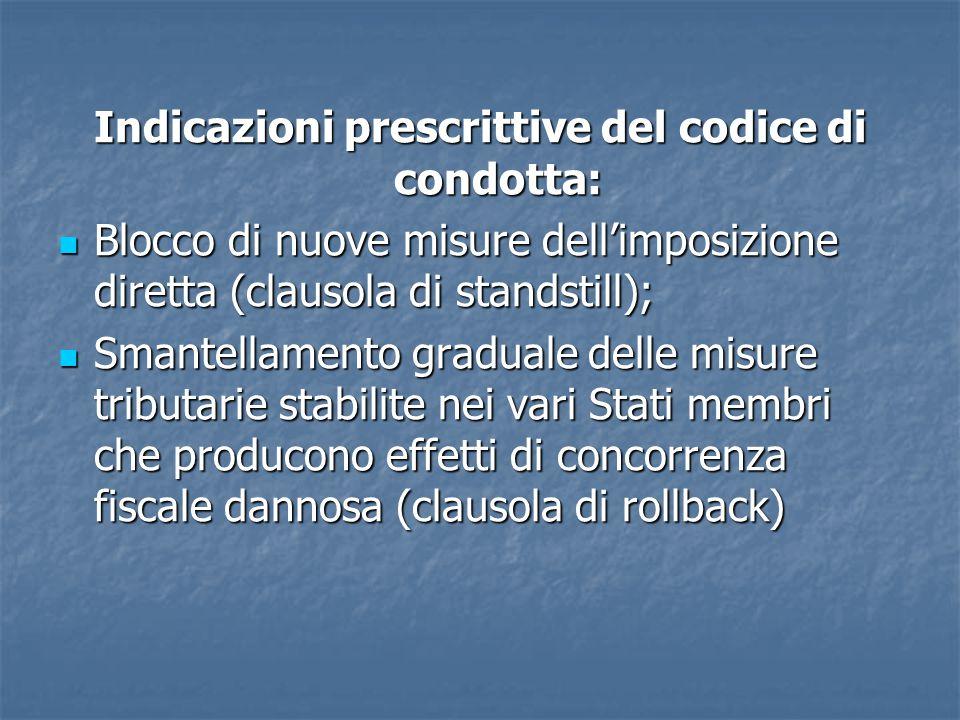 Indicazioni prescrittive del codice di condotta: