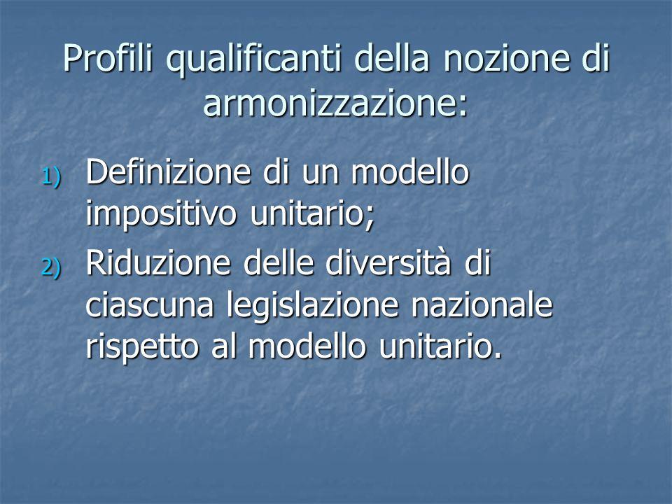 Profili qualificanti della nozione di armonizzazione: