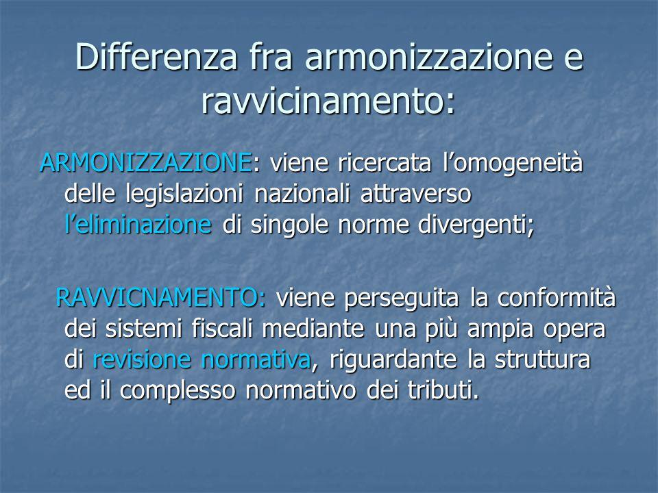 Differenza fra armonizzazione e ravvicinamento: