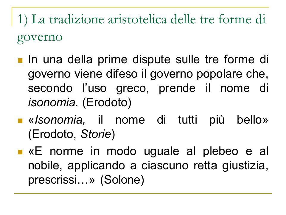 1) La tradizione aristotelica delle tre forme di governo
