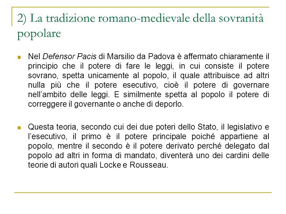 2) La tradizione romano-medievale della sovranità popolare