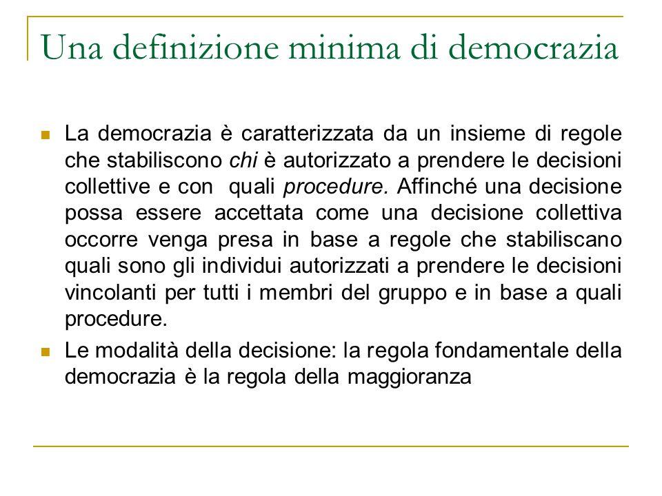 Una definizione minima di democrazia