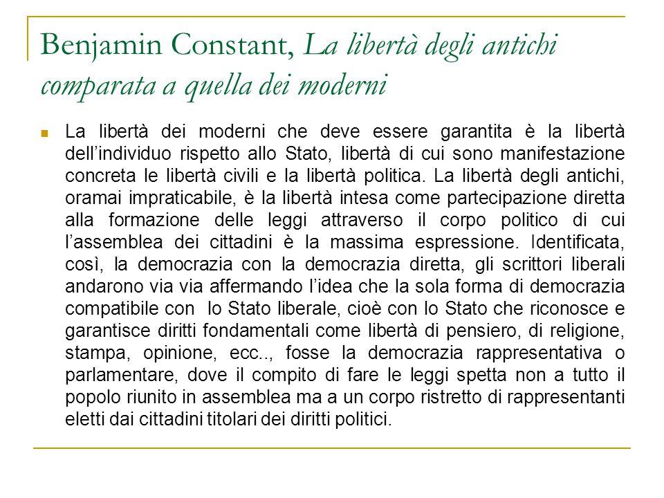 Benjamin Constant, La libertà degli antichi comparata a quella dei moderni