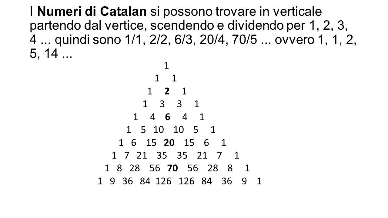 I Numeri di Catalan si possono trovare in verticale partendo dal vertice, scendendo e dividendo per 1, 2, 3, 4 ... quindi sono 1/1, 2/2, 6/3, 20/4, 70/5 ... ovvero 1, 1, 2, 5, 14 ...