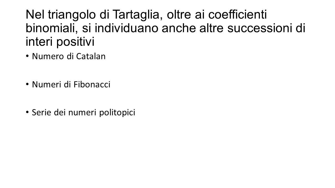 Nel triangolo di Tartaglia, oltre ai coefficienti binomiali, si individuano anche altre successioni di interi positivi