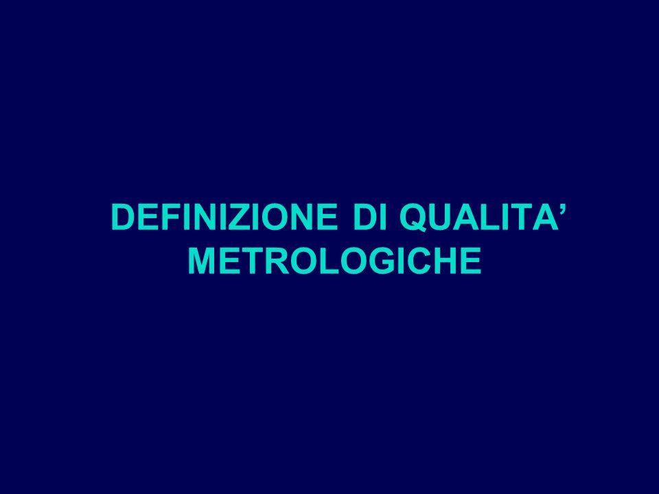 DEFINIZIONE DI QUALITA' METROLOGICHE