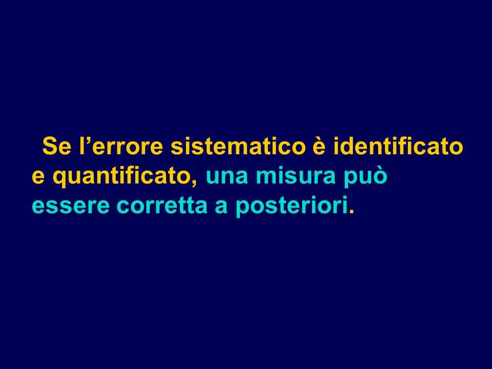 Se l'errore sistematico è identificato e quantificato, una misura può essere corretta a posteriori.