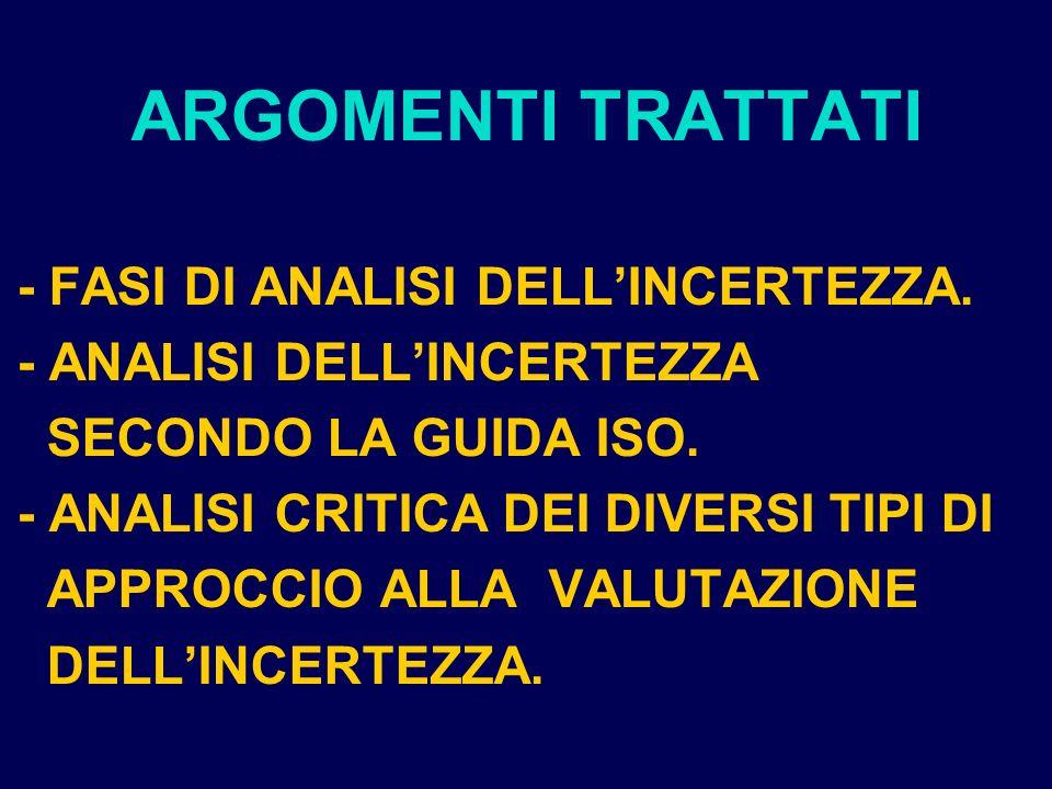 ARGOMENTI TRATTATI - FASI DI ANALISI DELL'INCERTEZZA.