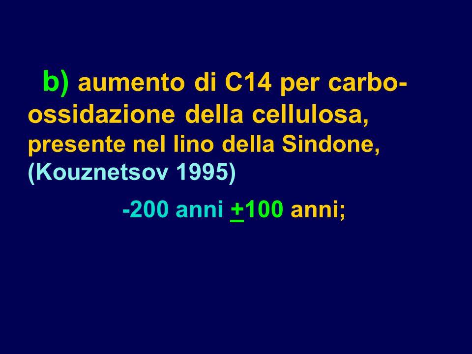 b) aumento di C14 per carbo-ossidazione della cellulosa, presente nel lino della Sindone, (Kouznetsov 1995)