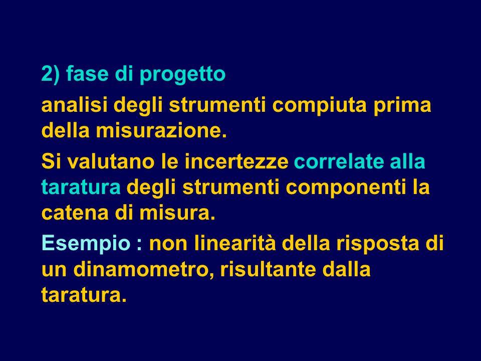 2) fase di progetto analisi degli strumenti compiuta prima della misurazione.