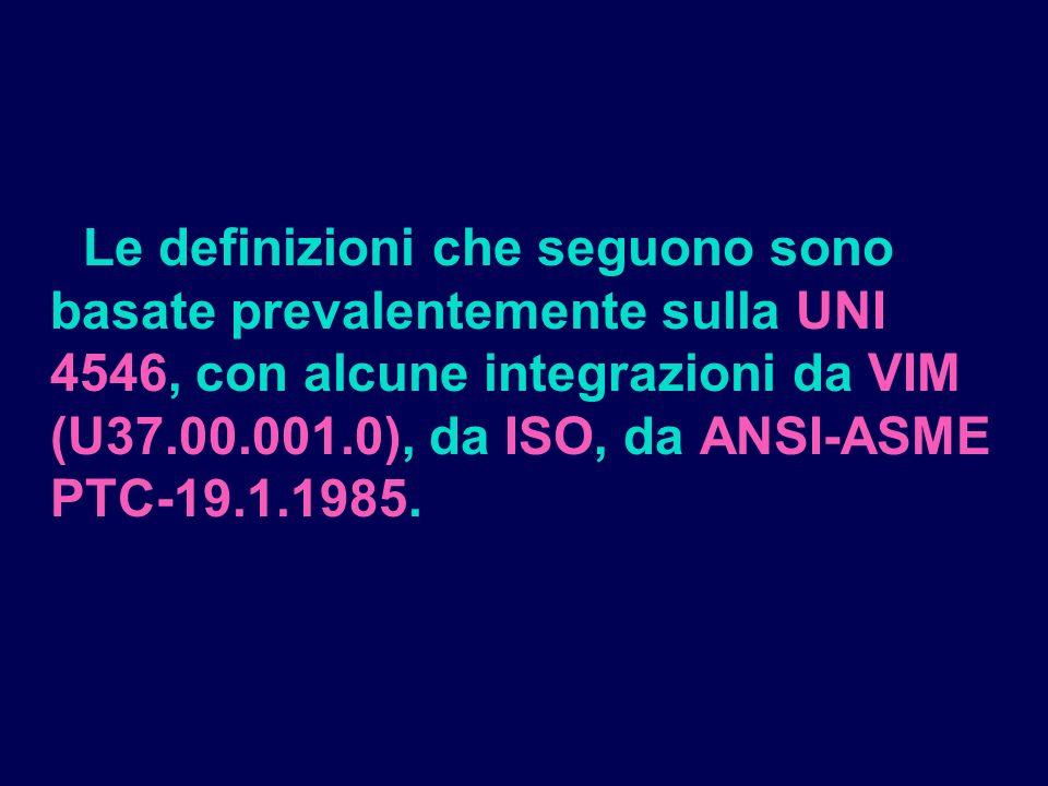 Le definizioni che seguono sono basate prevalentemente sulla UNI 4546, con alcune integrazioni da VIM (U37.00.001.0), da ISO, da ANSI-ASME PTC-19.1.1985.