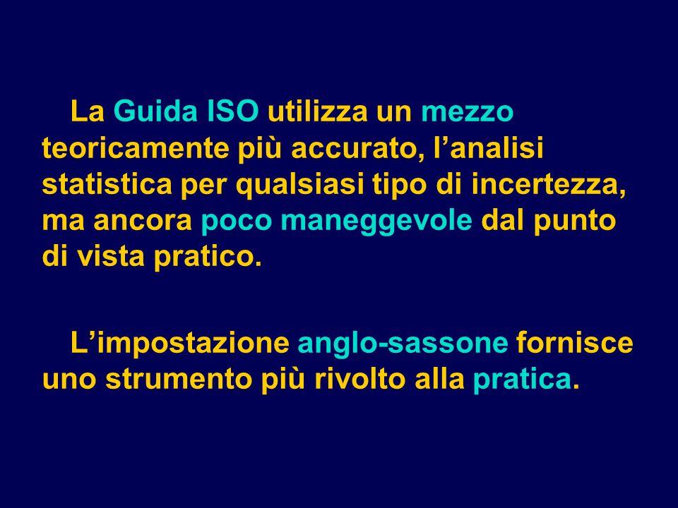 La Guida ISO utilizza un mezzo teoricamente più accurato, l'analisi statistica per qualsiasi tipo di incertezza, ma ancora poco maneggevole dal punto di vista pratico.