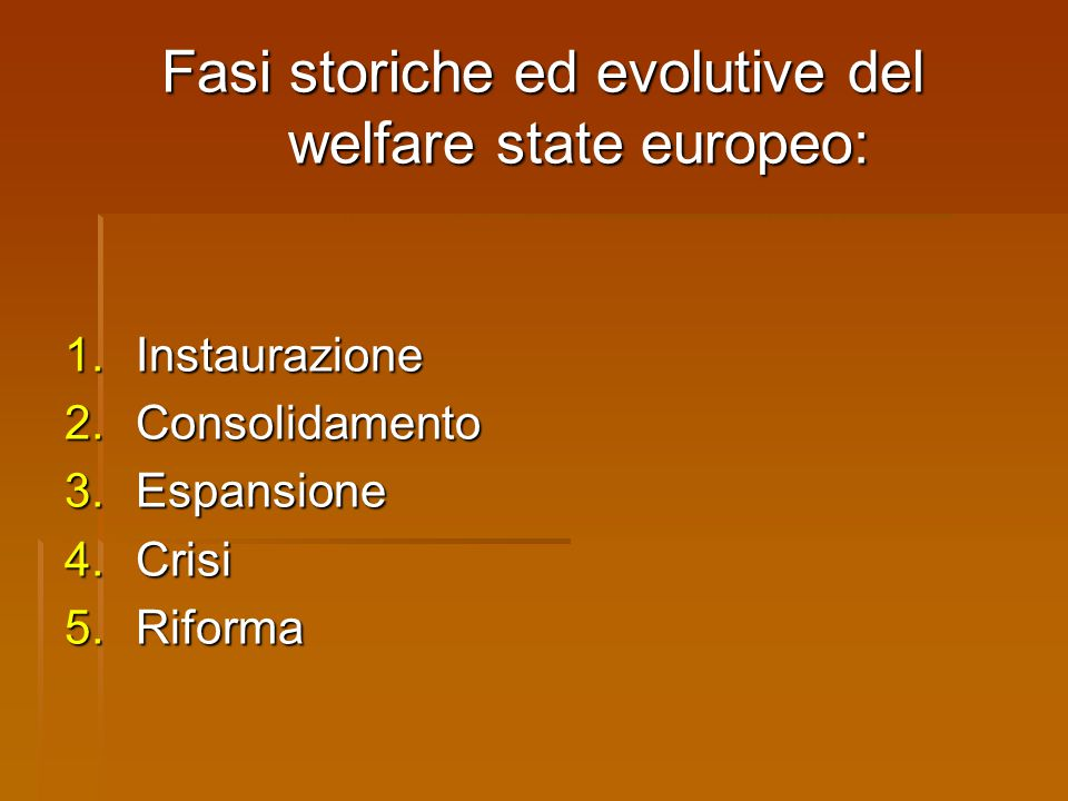 Fasi storiche ed evolutive del welfare state europeo: