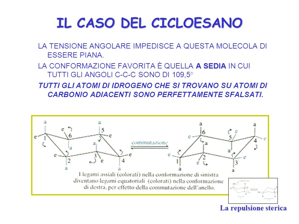 IL CASO DEL CICLOESANO LA TENSIONE ANGOLARE IMPEDISCE A QUESTA MOLECOLA DI ESSERE PIANA.