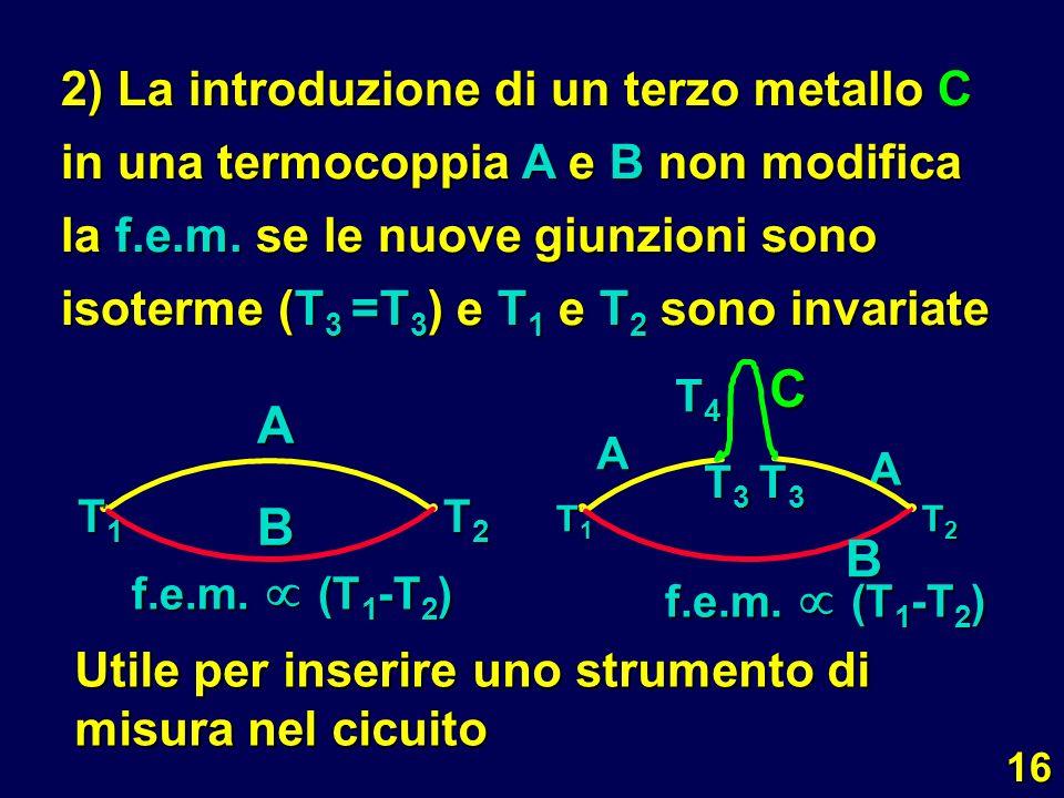 2) La introduzione di un terzo metallo C in una termocoppia A e B non modifica la f.e.m. se le nuove giunzioni sono isoterme (T3 =T3) e T1 e T2 sono invariate