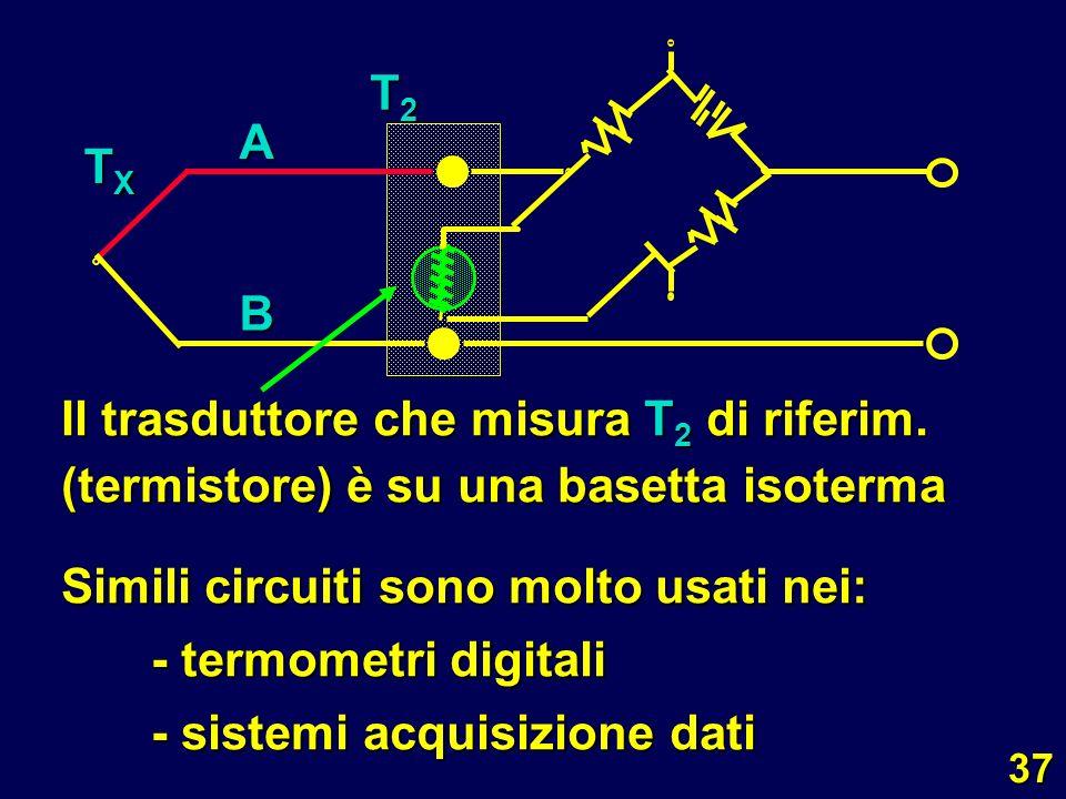 A B. TX. T2. Il trasduttore che misura T2 di riferim. (termistore) è su una basetta isoterma.