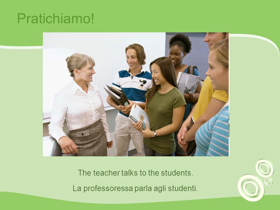 Pratichiamo! The teacher talks to the students.