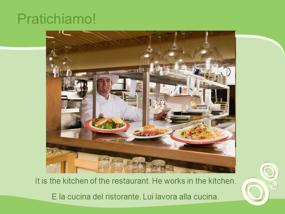 Pratichiamo. It is the kitchen of the restaurant.