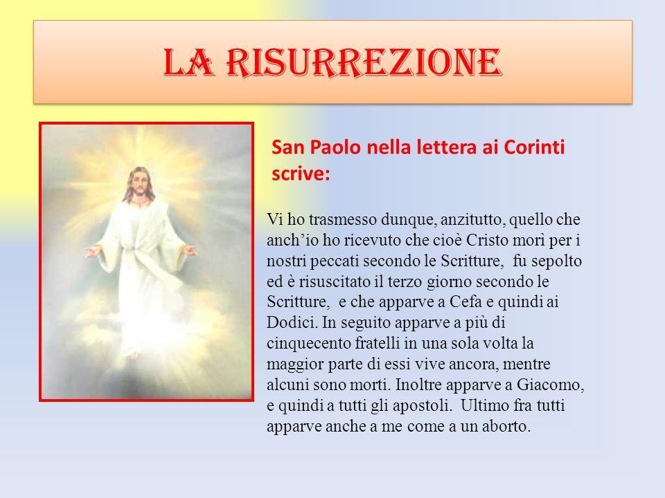 LA RISURREZIONE San Paolo nella lettera ai Corinti scrive: