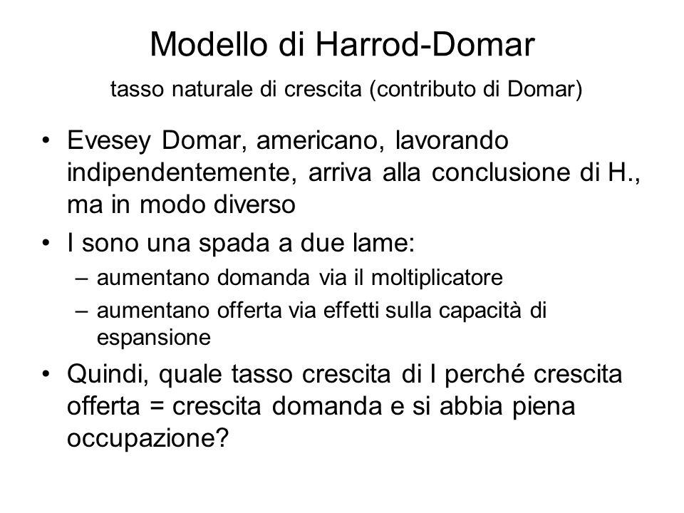 Modello di Harrod-Domar tasso naturale di crescita (contributo di Domar)