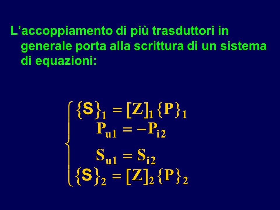 L'accoppiamento di più trasduttori in generale porta alla scrittura di un sistema di equazioni: