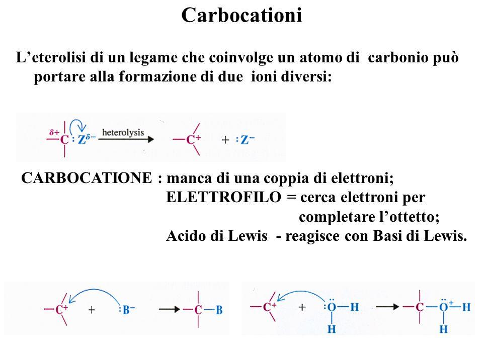 Carbocationi L'eterolisi di un legame che coinvolge un atomo di carbonio può portare alla formazione di due ioni diversi: