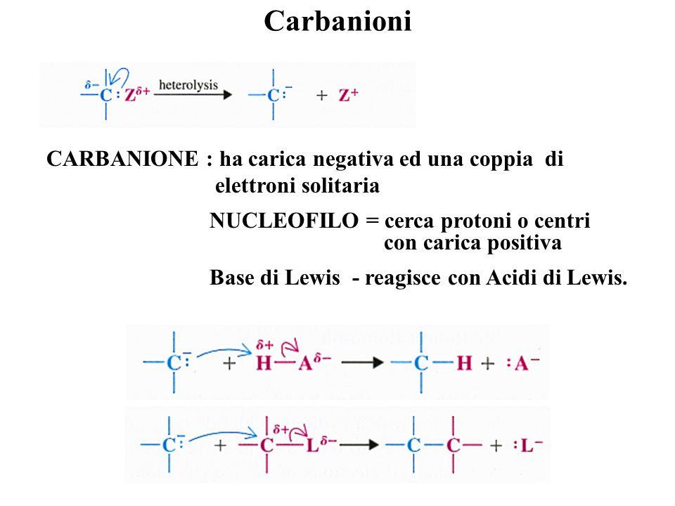 Carbanioni CARBANIONE : ha carica negativa ed una coppia di elettroni solitaria.