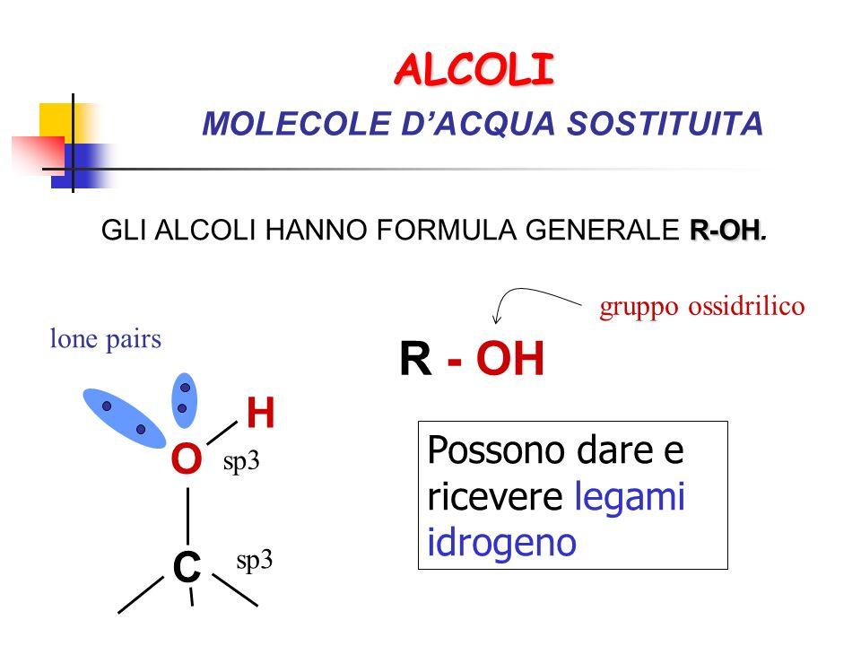 ALCOLI MOLECOLE D'ACQUA SOSTITUITA