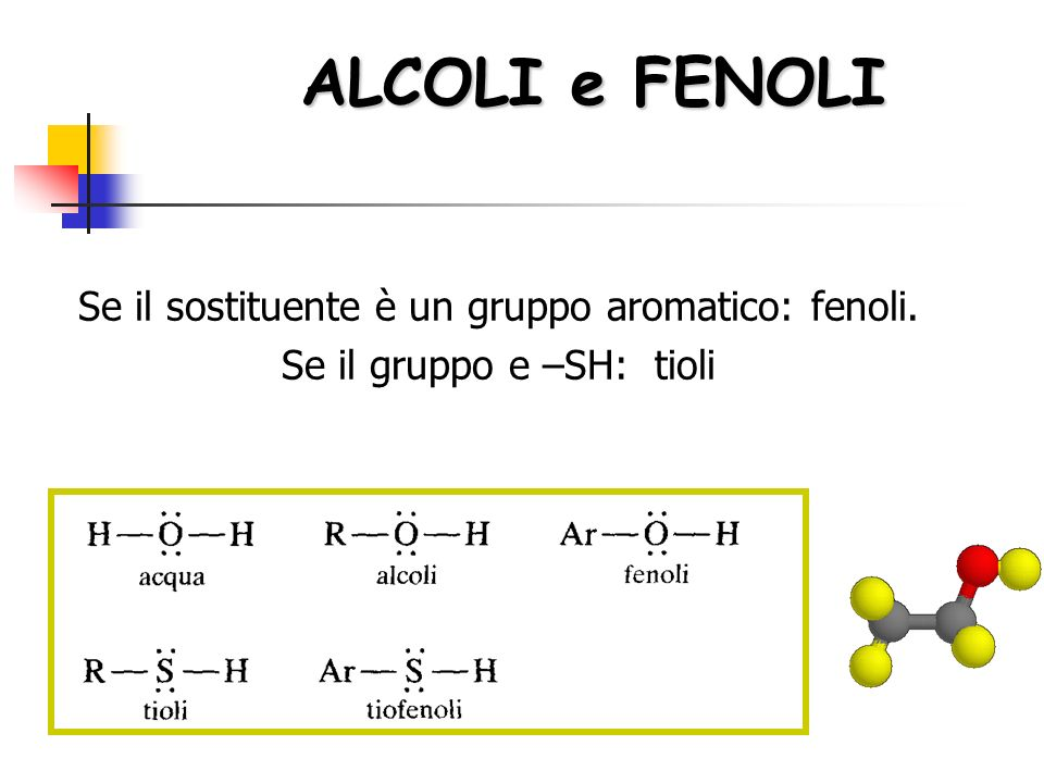 ALCOLI e FENOLI Se il sostituente è un gruppo aromatico: fenoli.