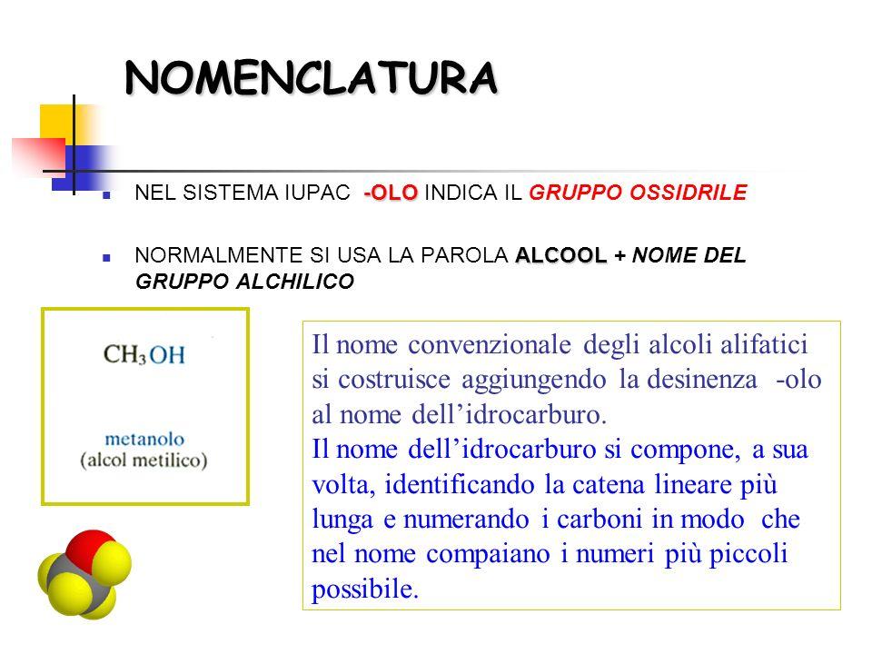 NOMENCLATURA NEL SISTEMA IUPAC -OLO INDICA IL GRUPPO OSSIDRILE. NORMALMENTE SI USA LA PAROLA ALCOOL + NOME DEL GRUPPO ALCHILICO.