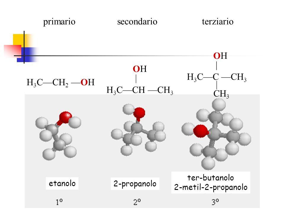 primario secondario terziario H3C—C —CH3 OH | CH3 H3C—CH —CH3 OH |