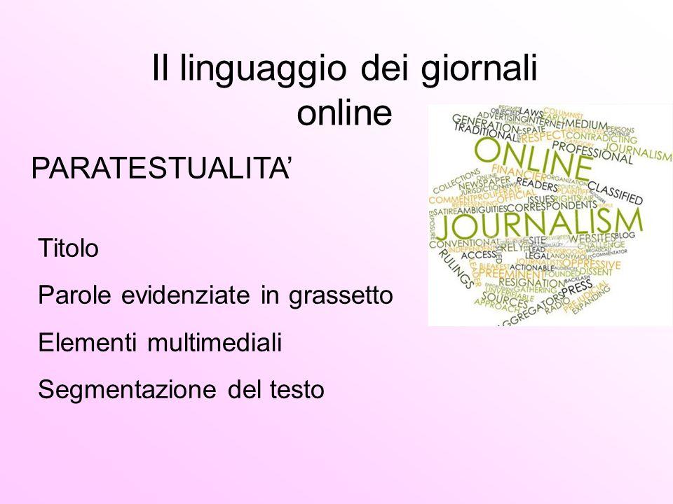 Il linguaggio dei giornali online