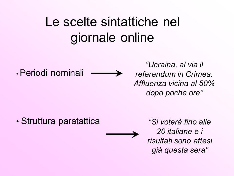 Le scelte sintattiche nel giornale online