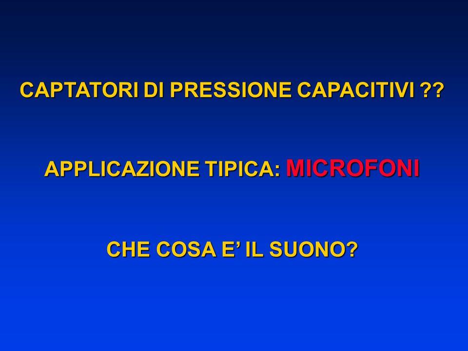 CAPTATORI DI PRESSIONE CAPACITIVI APPLICAZIONE TIPICA: MICROFONI