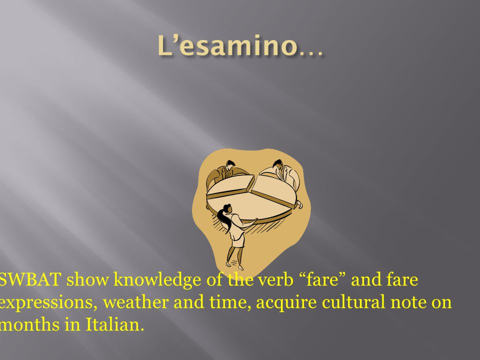 L'esamino… SWBAT show knowledge of the verb fare and fare expressions, weather and time, acquire cultural note on months in Italian.