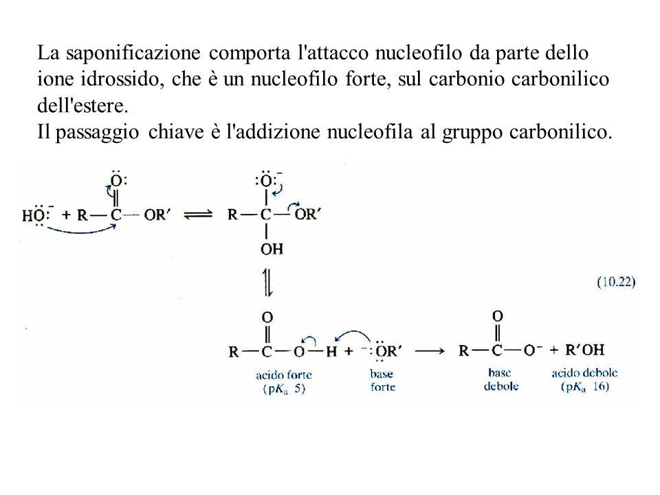 La saponificazione comporta l attacco nucleofilo da parte dello ione idrossido, che è un nucleofilo forte, sul carbonio carbonilico dell estere. Il passaggio chiave è l addizione nucleofila al gruppo carbonilico.