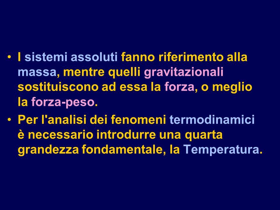 I sistemi assoluti fanno riferimento alla massa, mentre quelli gravitazionali sostituiscono ad essa la forza, o meglio la forza-peso.