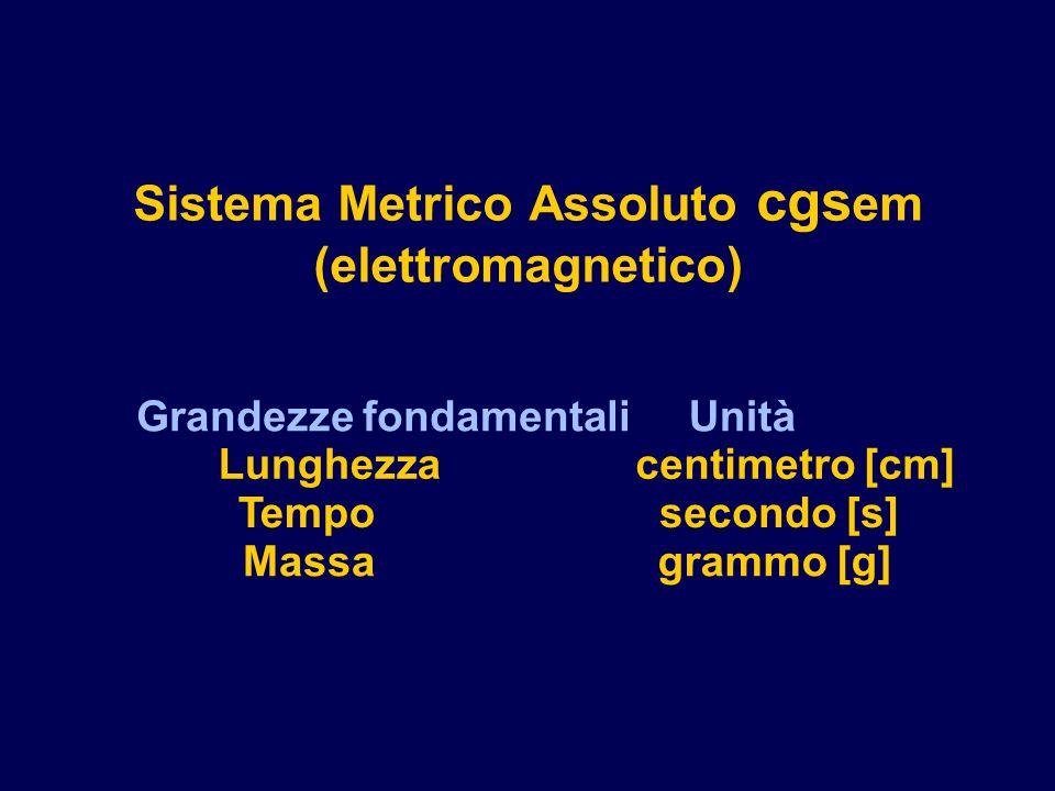 Sistema Metrico Assoluto cgsem (elettromagnetico)