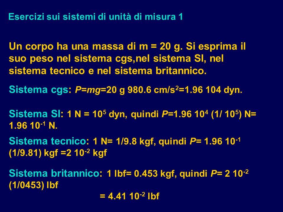 Esercizi sui sistemi di unità di misura 1