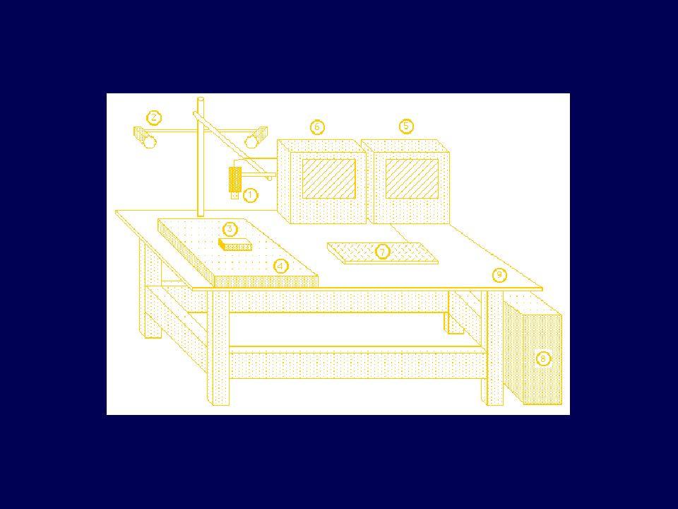 Nella figura si può notare la telecamera (1) vincolata ad un supporto dotato di 6 gradi di libertà (tre possibili spostamenti e tre rotazioni); al supporto è collegato il sistema di illuminazione (2) consistente in due lampade ad incandescenza. Il pezzo da misurare (3) è appoggiato al piano di ripresa (4) dotato di reticolo per la taratura del sistema. Il segnale analogico in uscita della telecamera è acquisito dalla scheda digitalizzatrice (frame-grabber) situata nel computer (8); in tal modo l immagine digitalizzata non è più soggetta a possibile degradazione della qualità nelle successive fasi di manipolazione, quali duplicazione, trasmissione etc. .