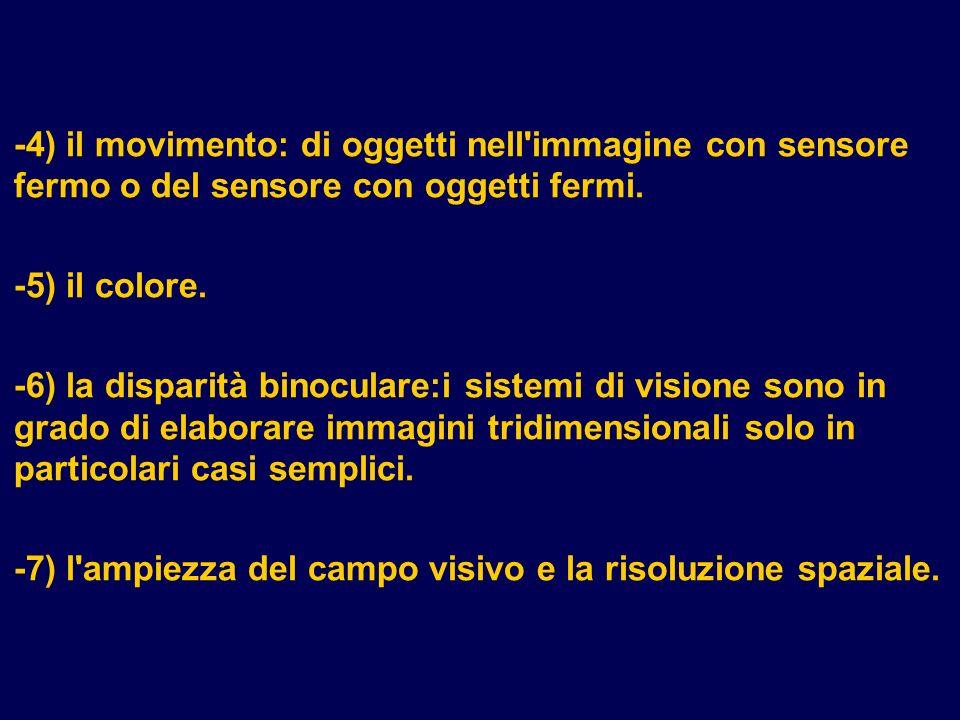 -7) l ampiezza del campo visivo e la risoluzione spaziale.