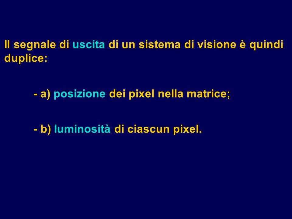 Il segnale di uscita di un sistema di visione è quindi duplice: