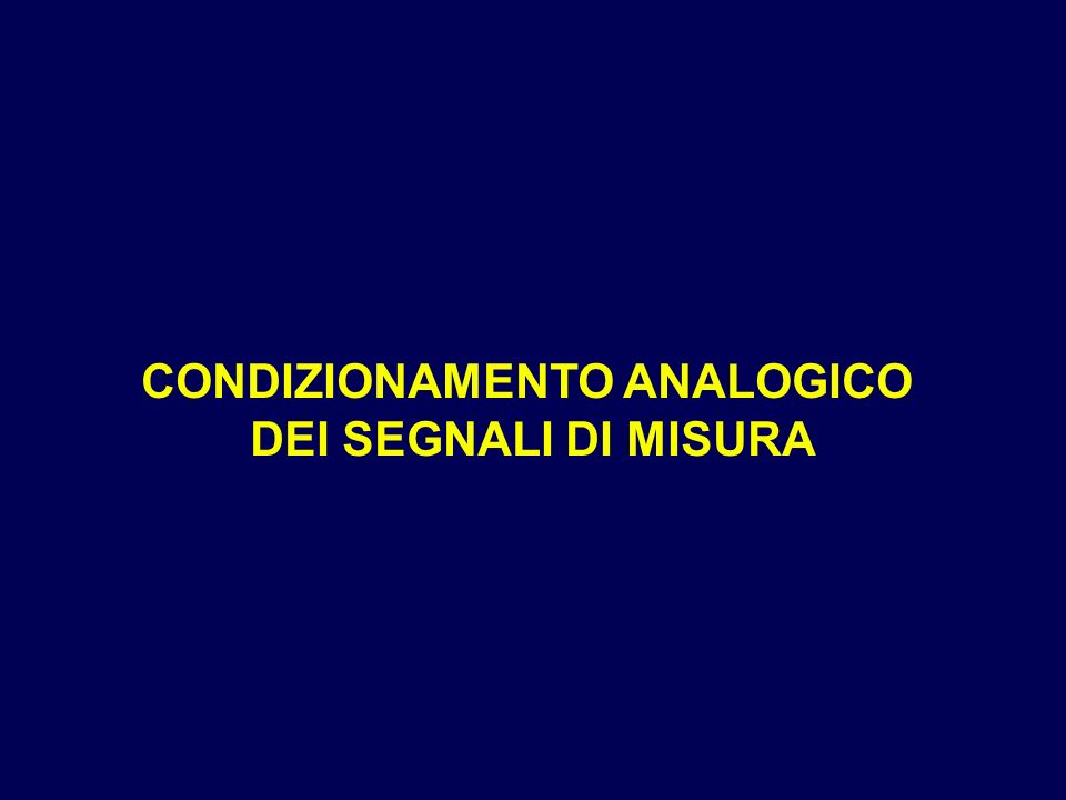 CONDIZIONAMENTO ANALOGICO