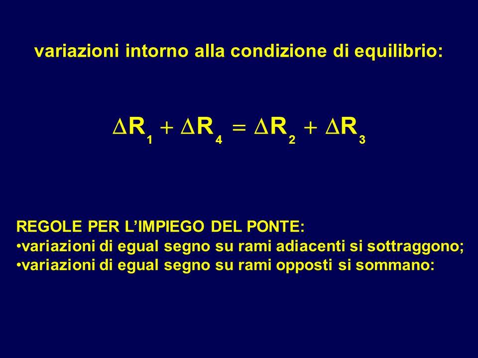  R   variazioni intorno alla condizione di equilibrio: