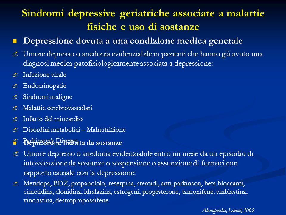 Sindromi depressive geriatriche associate a malattie fisiche e uso di sostanze