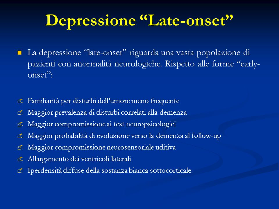 Depressione Late-onset